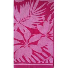 Plážová osuška Květy růžové 100x180 cm
