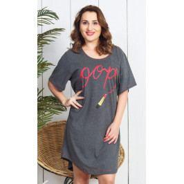 Dámská noční košile s krátkým rukávem Rtěnka Velikost 1XL, Barva tmavě šedá