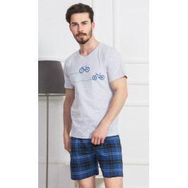 Pánské pyžamo šortky Tomáš Velikost L, Barva světle šedá