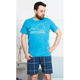 Pánské pyžamo šortky Bear Velikost M, Barva tmavě tyrkysová