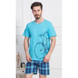 Pánské pyžamo šortky Velké kolo Velikost M, Barva tyrkysová