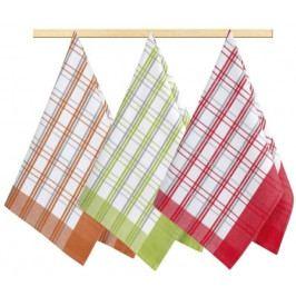Bellatex kuchyňské utěrky 174 kostka oranžová, červená, zelená 3ks 50x70 cm