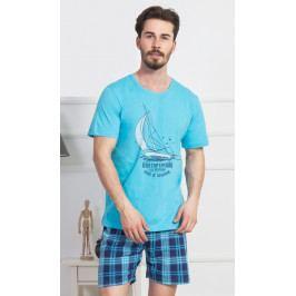 Pánské pyžamo šortky Jachting Velikost L, Barva tyrkysová