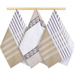 Bellatex kuchyňské utěrky 166 proužek béžový, hnědý, bílý 3ks 50x70 cm