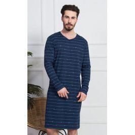 Pánská noční košile s dlouhým rukávem Vilém Velikost M, Barva tmavě modrá