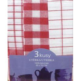 Bavlněné kuchyňské utěrky káro červené 3ks 50x70 cm