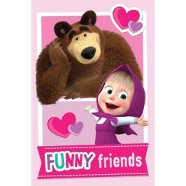 Jerry Fabrics dětská fleecová deka Máša a medvěd Friends 100x150 cm