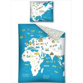 Carbotex dětské povlečení bavlna Mapa světa 140x200+70x80 cm