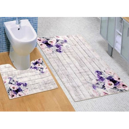 Bellatex koupelnové předložky 3D tisk fialová kytice sada 60x100+60x50 cm