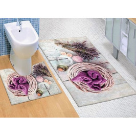 Bellatex koupelnové předložky 3D tisk levandule sada 60x100+60x50 cm