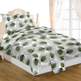 Jahu 3 dílné povlečení bavlna Zelené lístky 140x200+70x90+40x40 cm