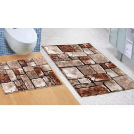 Bellatex koupelnové předložky 3D tisk bez výkroje kamenná dlažba 60x100+60x50 cm
