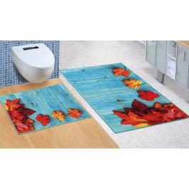 Bellatex koupelnové předložky 3D tisk bez výkroje javorové listy 60x100+60x50 cm