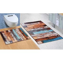 Bellatex koupelnové předložky 3D tisk bez výkroje dřevěná podlaha 60x100+60x50 cm