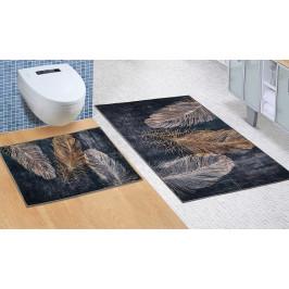Bellatex koupelnové předložky 3D tisk bez výkroje pírko 60x100+60x50 cm