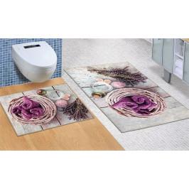 Bellatex koupelnové předložky 3D tisk bez výkroje levandule 60x100+60x50 cm