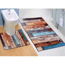 Bellatex koupelnové předložky 3D tisk dřevěná podlaha 60x100+60x50 cm