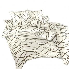 Dadka povlečení satén Vlny hnědé 140x200+70x90 cm