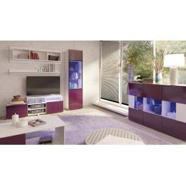 MEBLINE Moderní obývací stěna GORDIA sestava 10 Fialový lesk