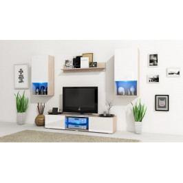 MEBLINE Obývací stěna VERO Sonoma / Bílý lesk