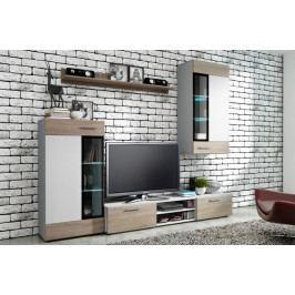MEBLINE Obývací stěna TANGO LUMIA bílý + sonoma