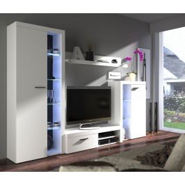MEBLINE Obývací stěny RUMBA / RODOS Bílý /Bílý