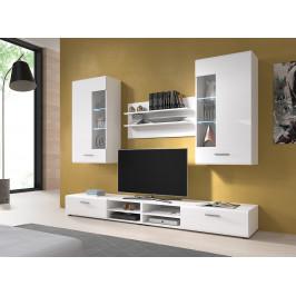 MEBLINE Nábytek do obývacího pokoje STORM 1 Bílý / Bílý lesk
