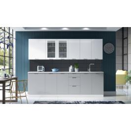 MEBLINE Kuchyně SOHO 260 Bílý / Bílý lesk + Light Grey