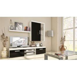 MEBLINE Elegantní obývací stěna SAMBA MINI 9 bílý/černý lesk