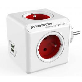 Powercube Original USB,  4x zásuvka, 2x USB bílá/červená