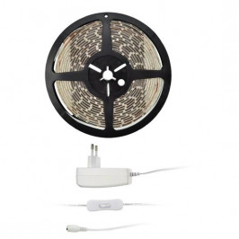 Solight 4,8 W/m, teplá bílá 3000K, 5m, adaptér s vypínačem (347936)