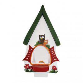 Krmítko mini hobbit dekor sova dřevo zápich bílá