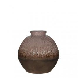 Keramická váza kulatá GAYA drápaná 25cm hnědá