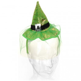Kloubouk čarodějnický látkový 28cm mix barev zelený