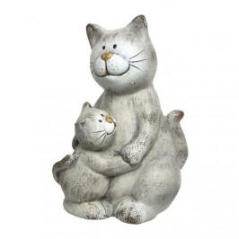 Kočka s kotětem keramická 12-17cm mix tvarů sedící