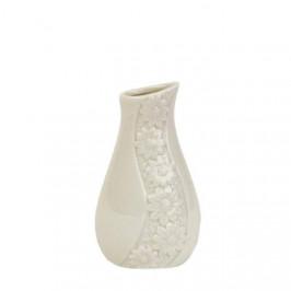 Váza porcelánová zkosená s květy 13cm bílá