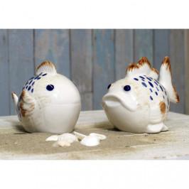 Ryba dekor puntíky porcelán krémová 140cm mix