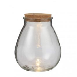 Dóza nebo baňka svíticí 5LED 19,5cm na baterie s korkovou zátkou skleněná
