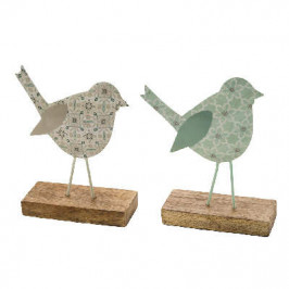 Pták na podstavci dekor ornament kov/dřevo mix 25cm