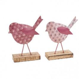 Pták na podstavci dekor ornament kov/dřevo mix