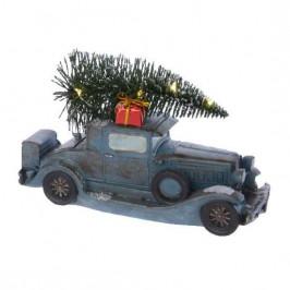 Auto veterán se stromkem svítící polyresin 14,5cm baterie mix barev světle modré