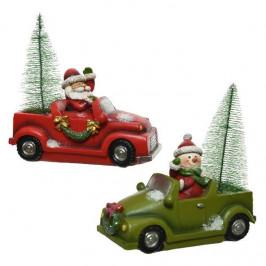 Auto se stromkem a Santou nebo sněhulákem polyresin 10,5-12cm mix barev