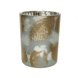 Svícen válec HURRICANE dekor listy sklo čirá/zlatá 12,5cm