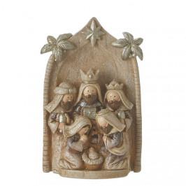Betlém s jesličkami přírodní/zlatý polyresin 10x15,5cm