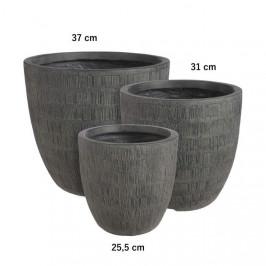 Obal kulatý kónický SCOTIA škrábaný keramika černá 37cm