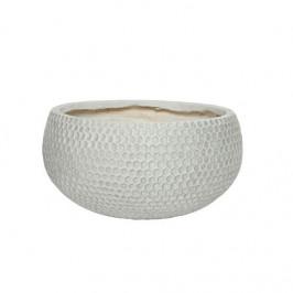 Žardina kulatá dekor plástev fiberclay bílá 37,5cm