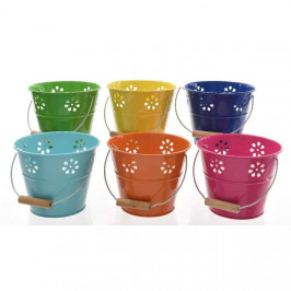 Svíčka v plechovém kbelíku 12cm mix barev tmavě modrá