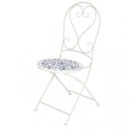 Židle kovová zahradní kulatá PAROS 94cm bílo-modrá