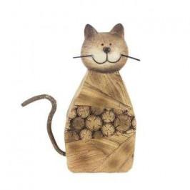 Kočka sedící dekor kulatina dřevo/kov hnědá 22cm