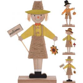 Strašák chlapec/dívka na podstavci dřevo mix 15cm